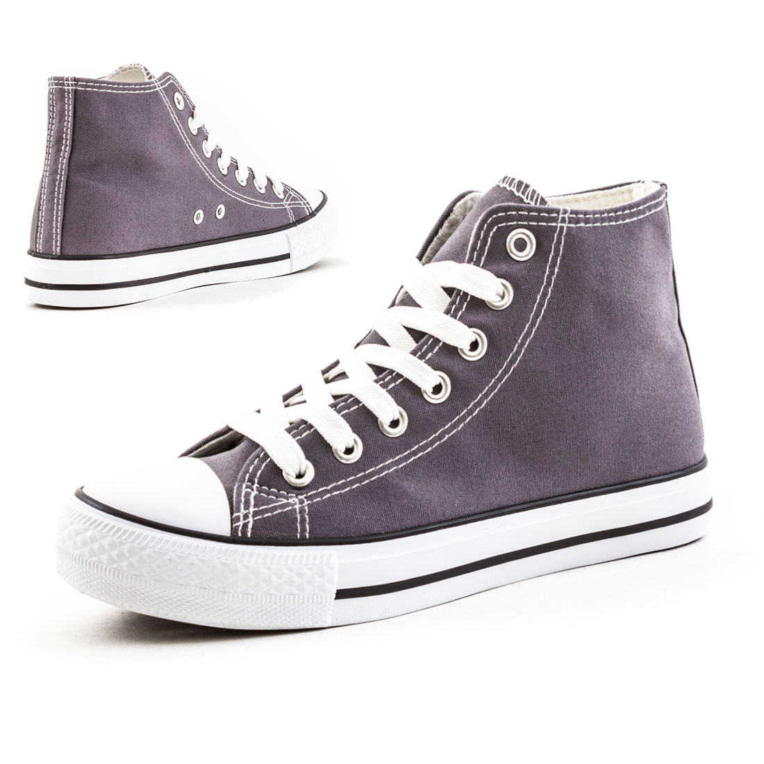 Neu Damen Nieten High Top Sneaker Canvas Turnschuhe Schuhe 36 37 38 39 40 41 8zJ7AZ