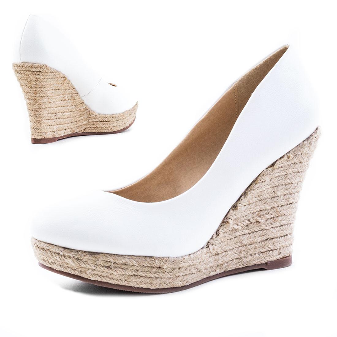neu damen plateau keilabsatz wedges bast high heels schuhe. Black Bedroom Furniture Sets. Home Design Ideas