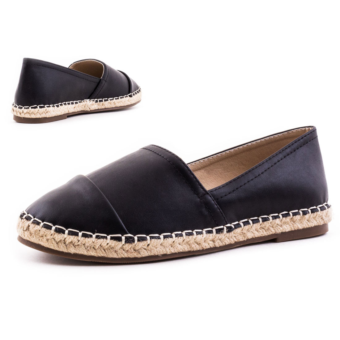 neu damen slip ons ballerinas espadrilles bast schuhe gr 36 37 38 39 40 41 ebay. Black Bedroom Furniture Sets. Home Design Ideas