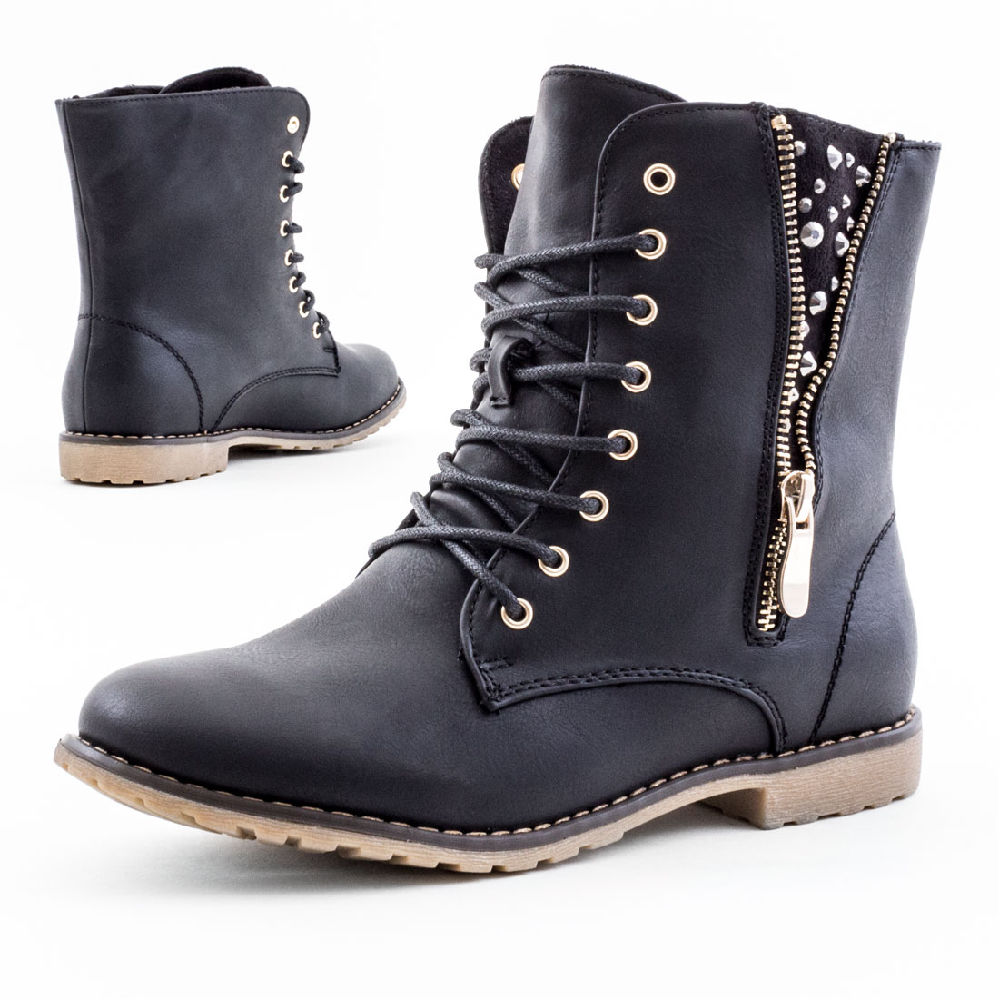 neu damen biker boots schn r stiefeletten strass nieten schuhe 36 37 38 39 40 41 ebay. Black Bedroom Furniture Sets. Home Design Ideas