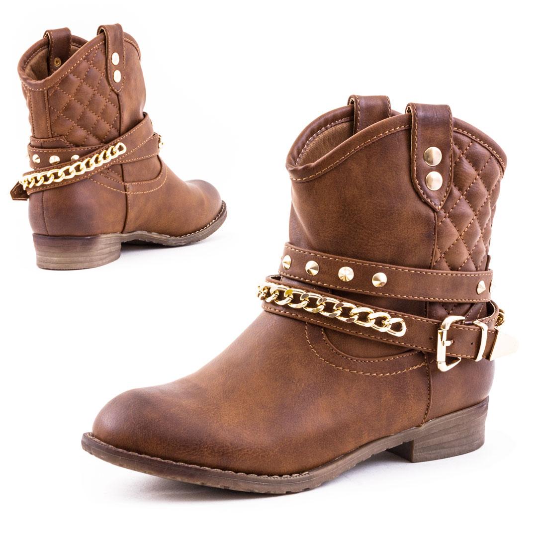 neu damen western cowboy stiefel nieten boots schuhe gr 36. Black Bedroom Furniture Sets. Home Design Ideas