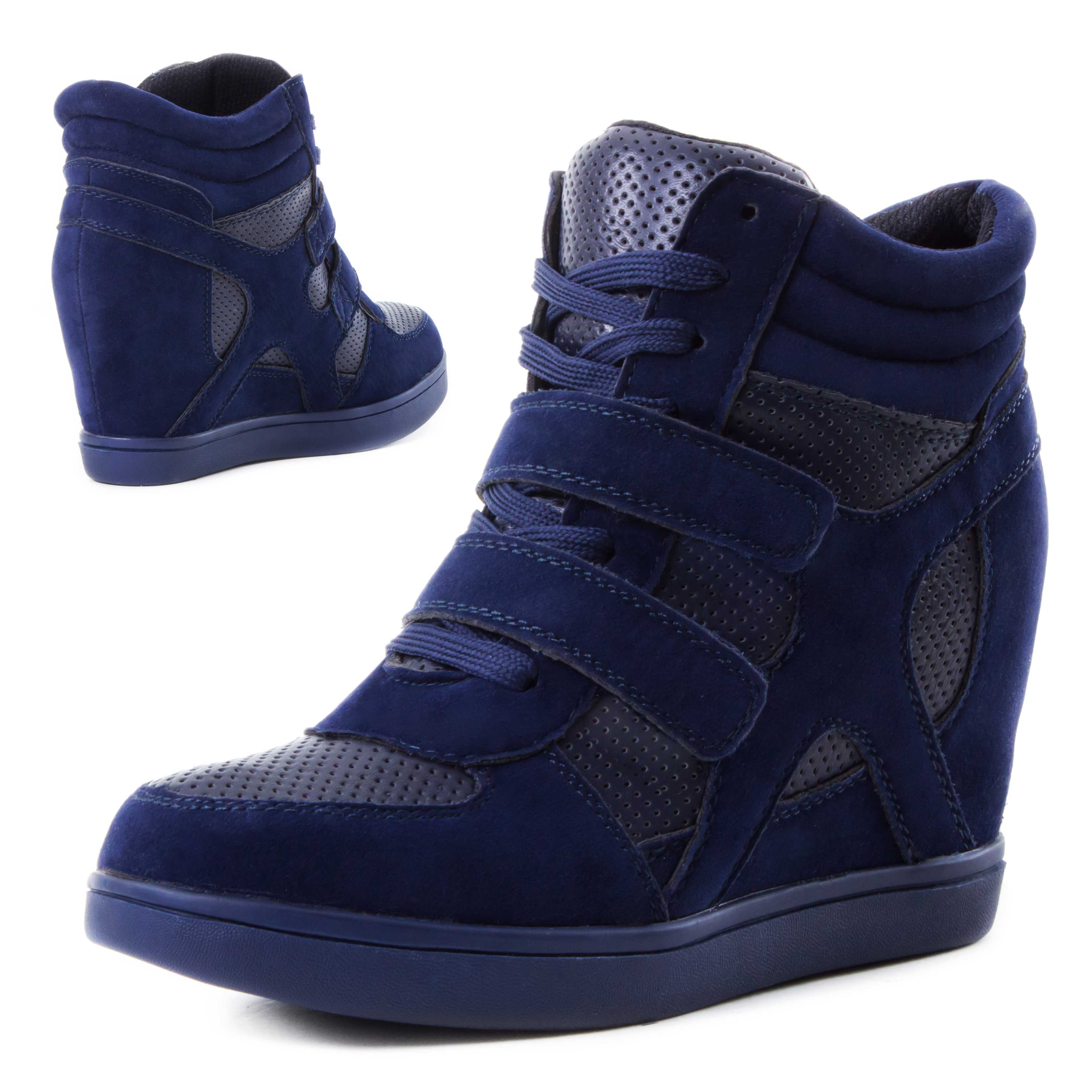 neu damen high top sneaker wedges mit klettverschluss groesse 36 37 38. Black Bedroom Furniture Sets. Home Design Ideas