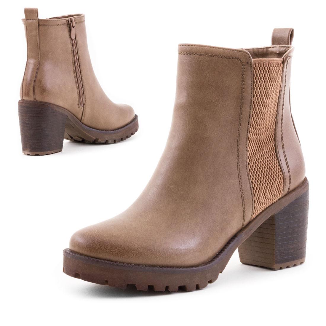 neu damen blockabsatz ankle boots profilsohle schuhe gr 36. Black Bedroom Furniture Sets. Home Design Ideas