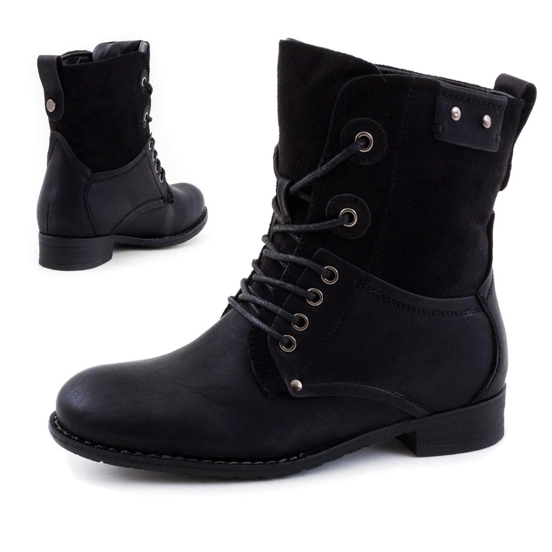 neu damen biker stiefeletten stiefel worker boots schuhe gr 36 37 38 39 40 41 ebay. Black Bedroom Furniture Sets. Home Design Ideas