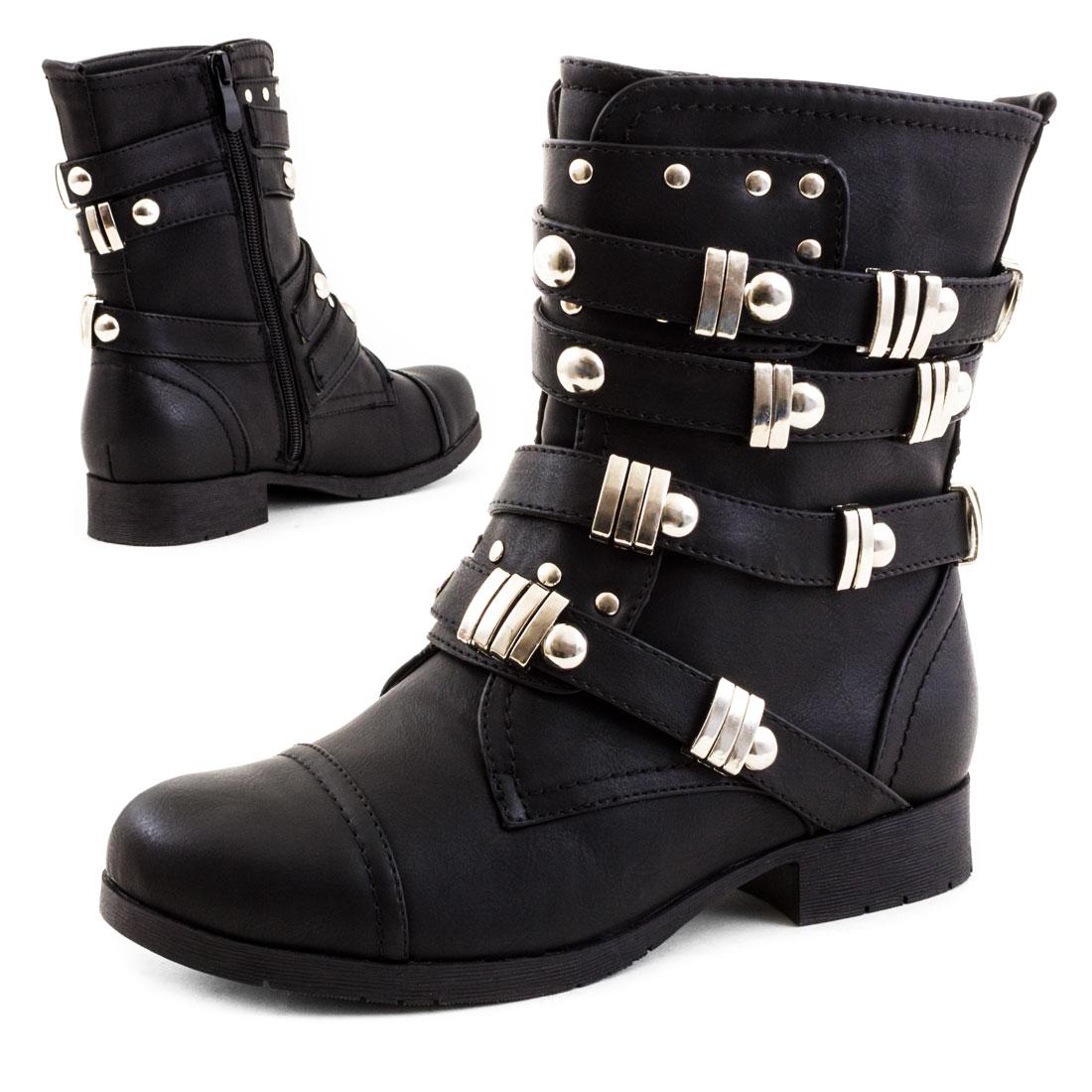 neu damen worker boots nieten stiefel stiefeletten schuhe. Black Bedroom Furniture Sets. Home Design Ideas