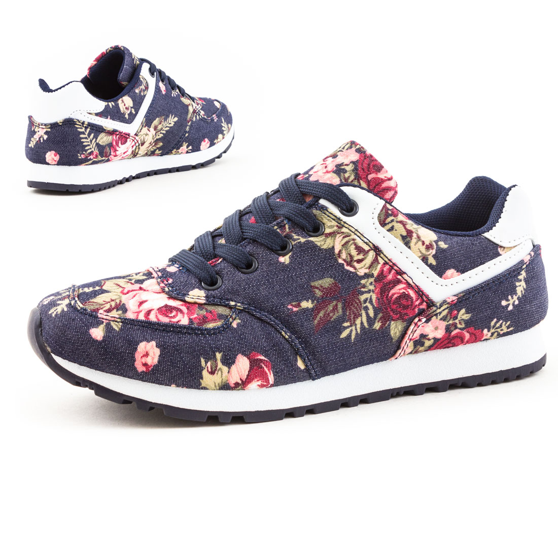 neu damen freizeit sport sneaker blumen camouflage schuhe gr 36 37 38 39 40 41 ebay. Black Bedroom Furniture Sets. Home Design Ideas