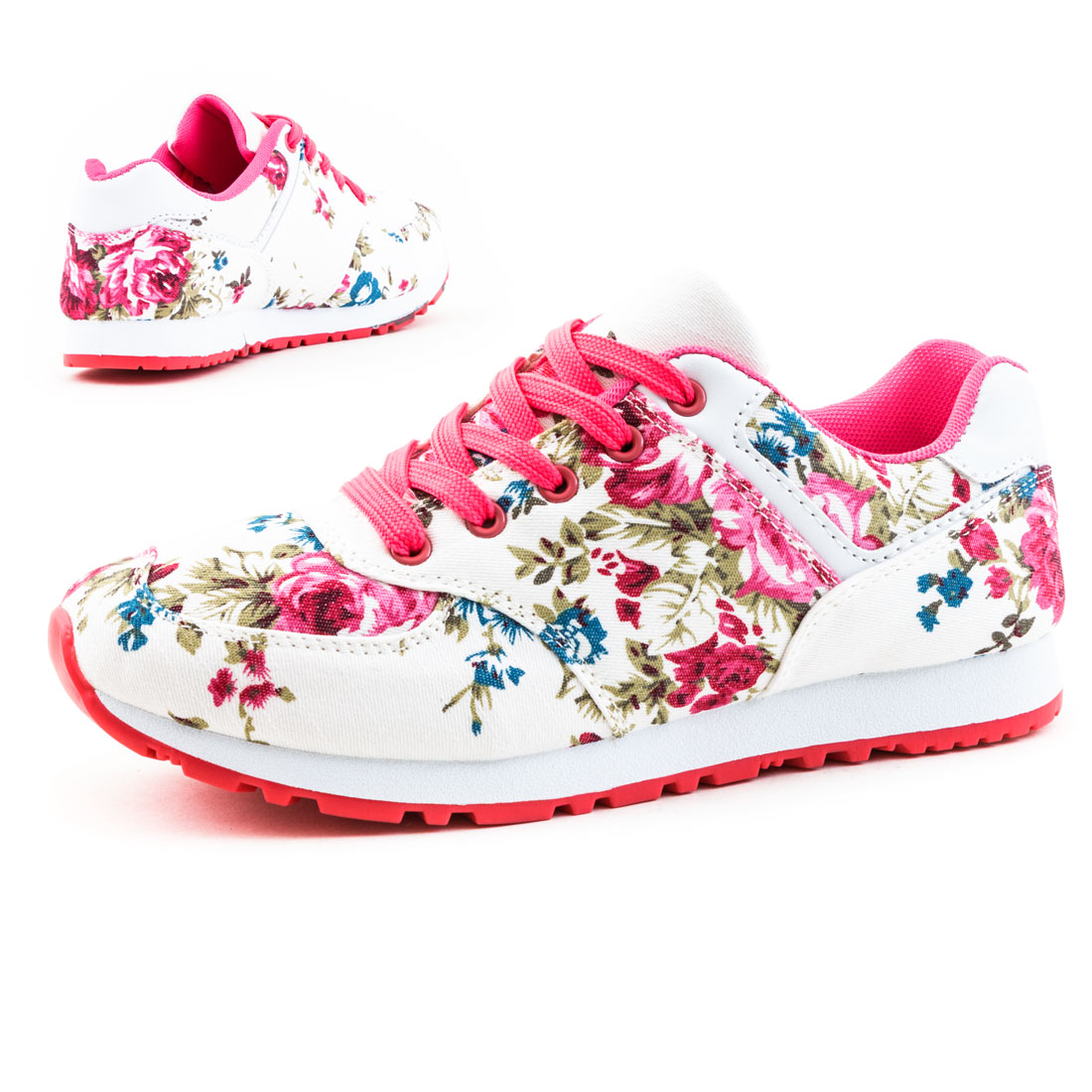 neu damen sportliche sneaker mit blumen print schuhe wow gr 36 37 38 39 40 41 ebay. Black Bedroom Furniture Sets. Home Design Ideas