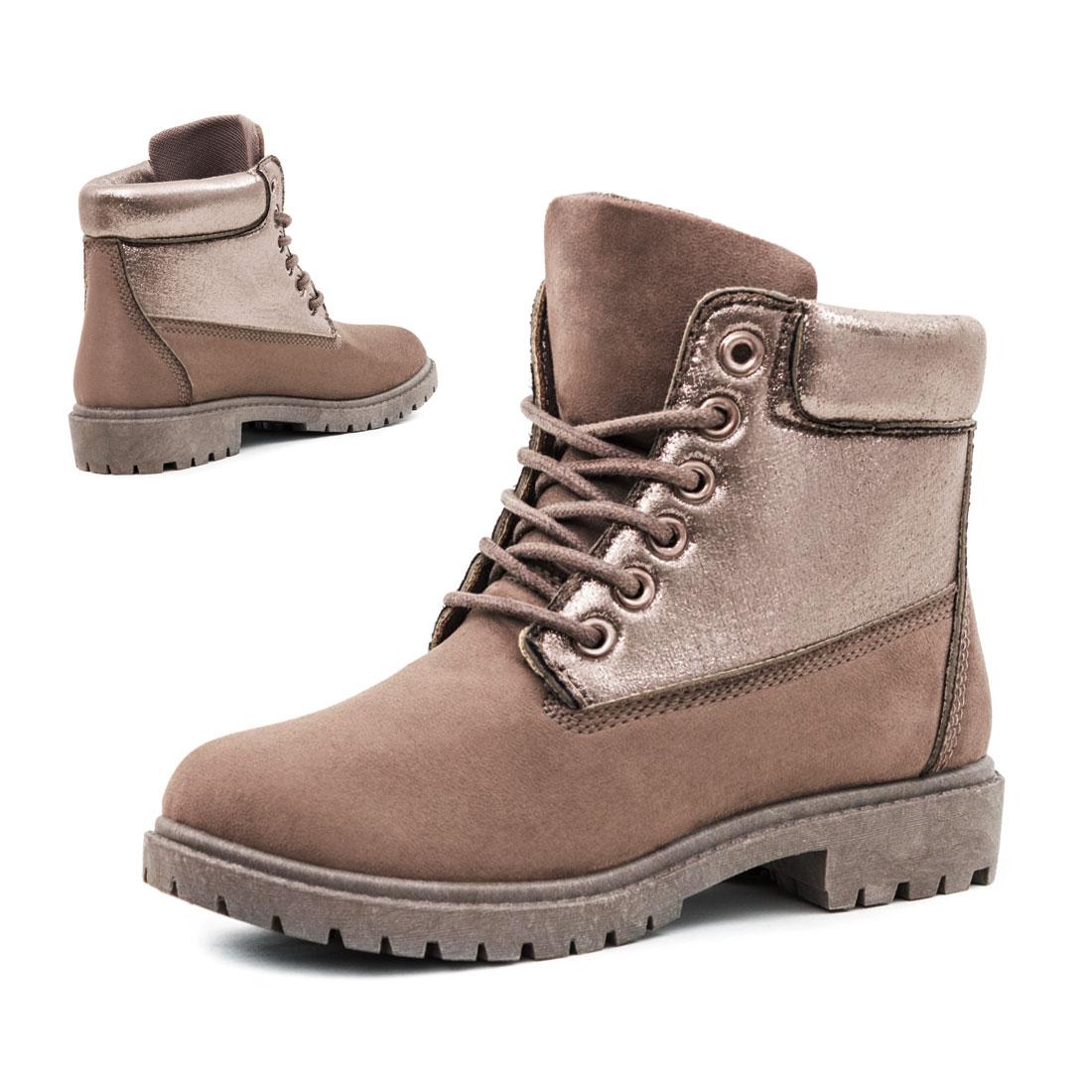 damen herbst winter boots schn rer metallic stiefeletten. Black Bedroom Furniture Sets. Home Design Ideas