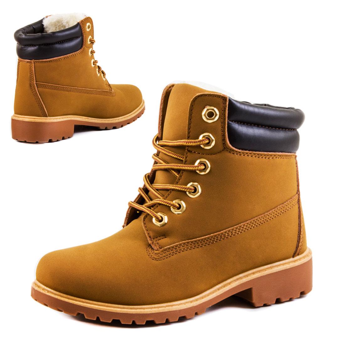 Stiefelette Damenschuhe warme Kunst Fell Winter Combat Boots 36 37 38 39 40 41