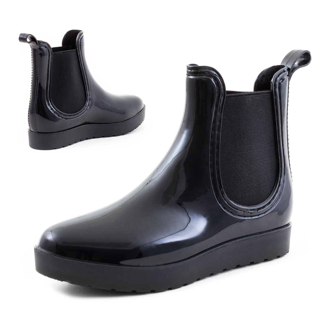 neu damen chelsea lack boots plateau gummistiefel herbst gr 36 37 38 39 40 41 ebay. Black Bedroom Furniture Sets. Home Design Ideas