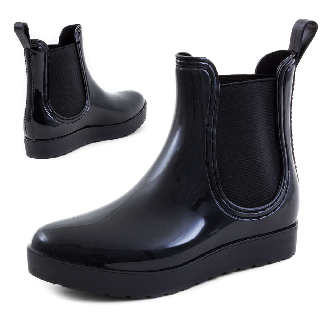 neu damen lackoptik chelsea boots gummistiefel stiefeletten gr 36 37 38 39 40 41 ebay. Black Bedroom Furniture Sets. Home Design Ideas