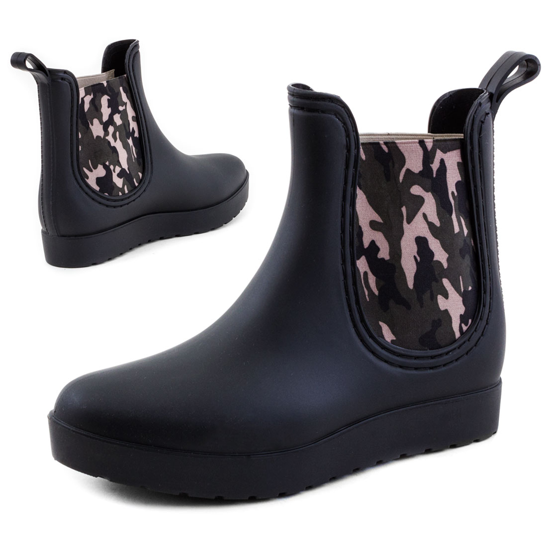 neu damen schulpf stiefeletten gummistiefel chelsea boots gr 36 37 38 39 40 41 ebay. Black Bedroom Furniture Sets. Home Design Ideas