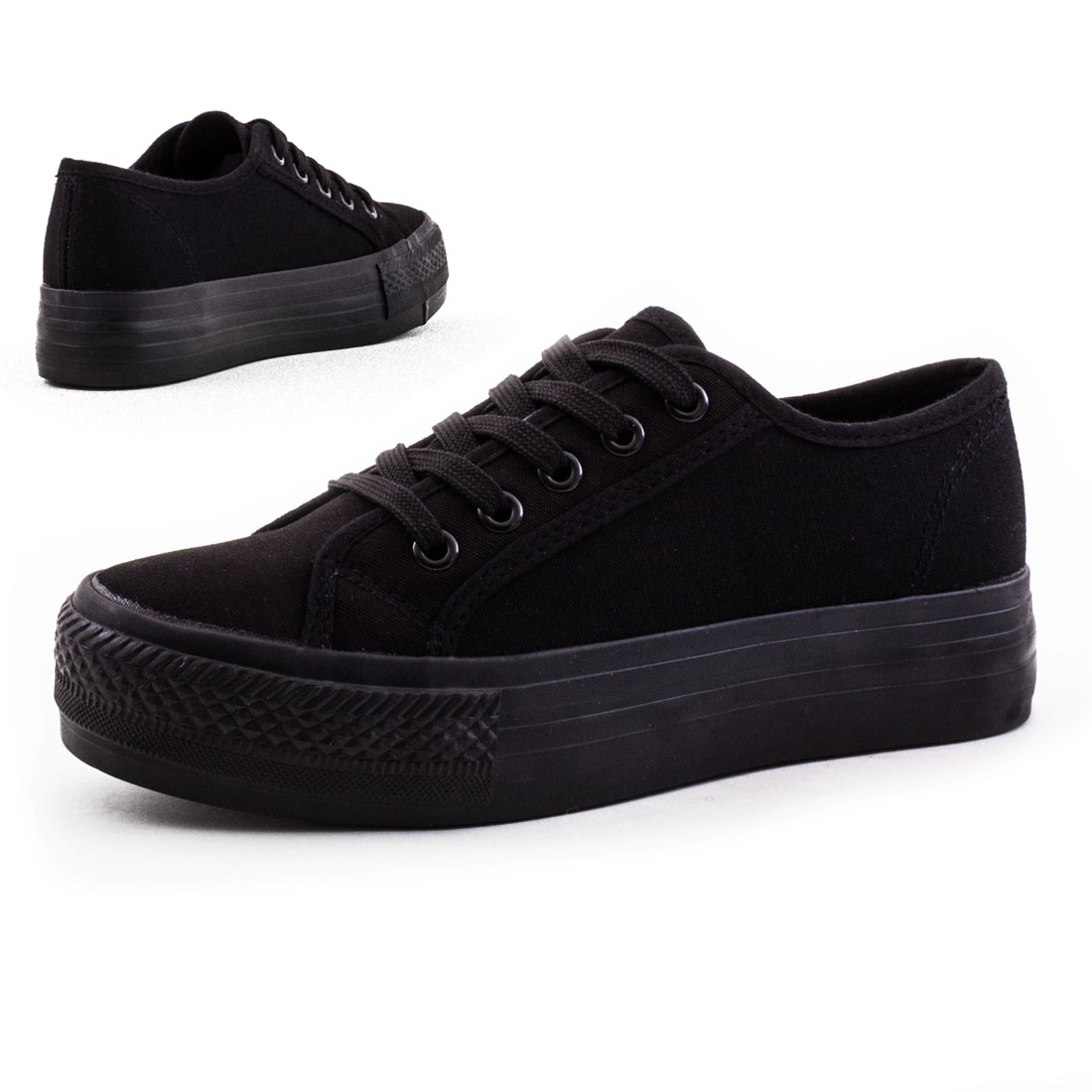 neu damen low top canvas sneaker mit dicker sohle schuhe gr 36 37 38 39 40 41 ebay. Black Bedroom Furniture Sets. Home Design Ideas