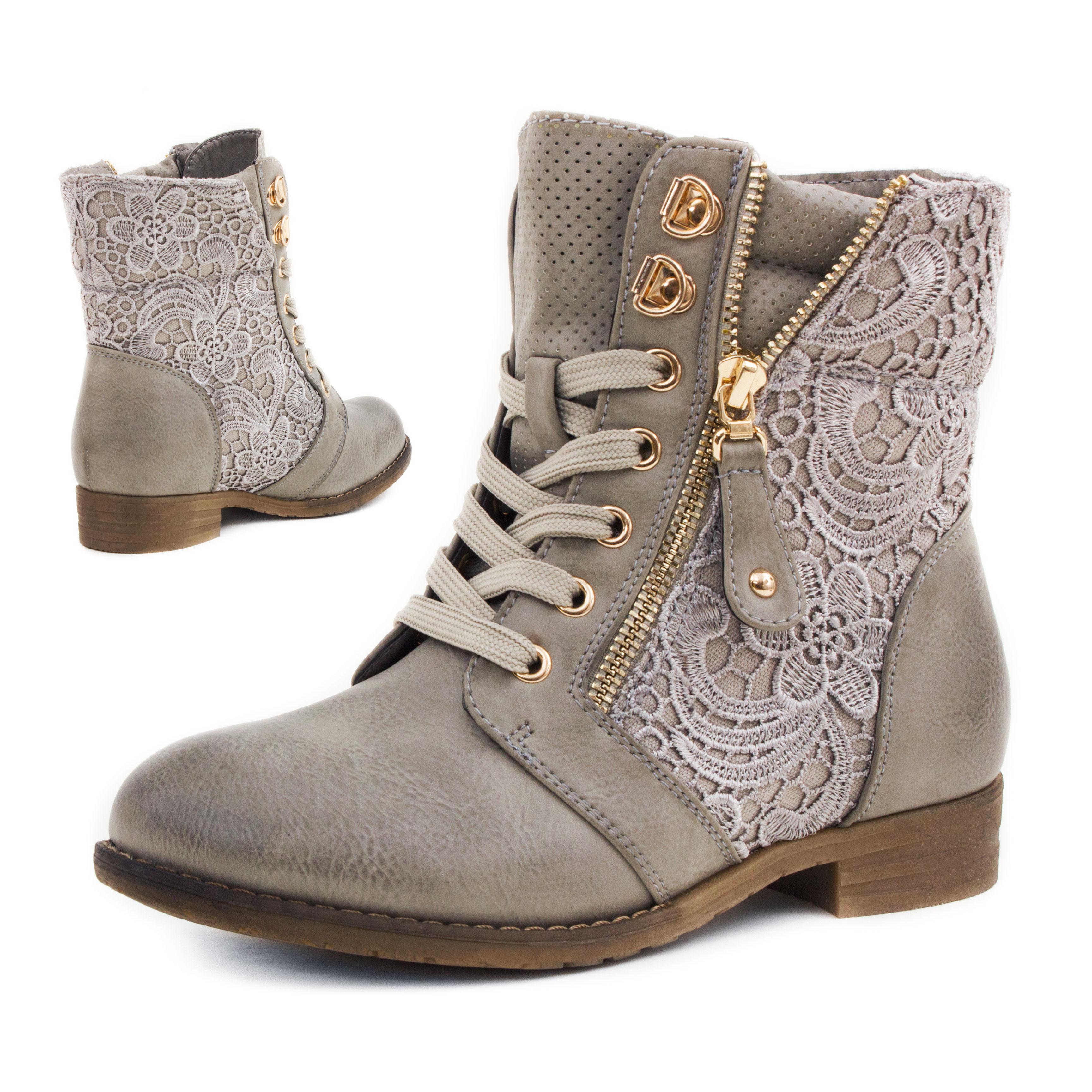 Neu-Damen-Worker-Boots-Schnuer-Stiefeletten-Ubergroessen-36-37-38-39-40-41-42-43