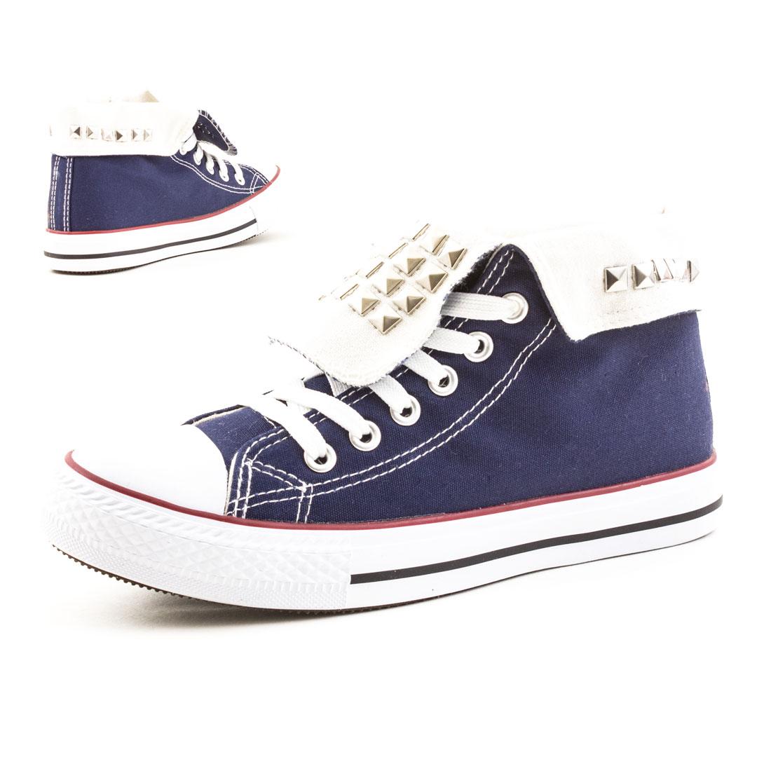 Neu Damen Nieten High Top Sneaker Canvas Turnschuhe Schuhe 36 37 38 39 40 41 fcW0y1bqM