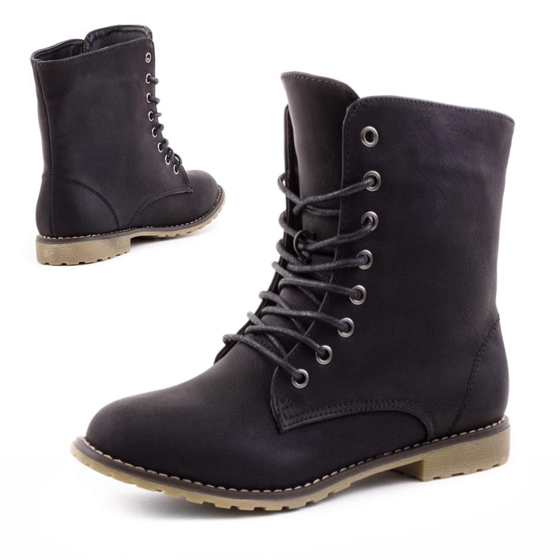 Schnür Blockabsatz Stiefeletten Schuhe Gr 40 WNXge6aA
