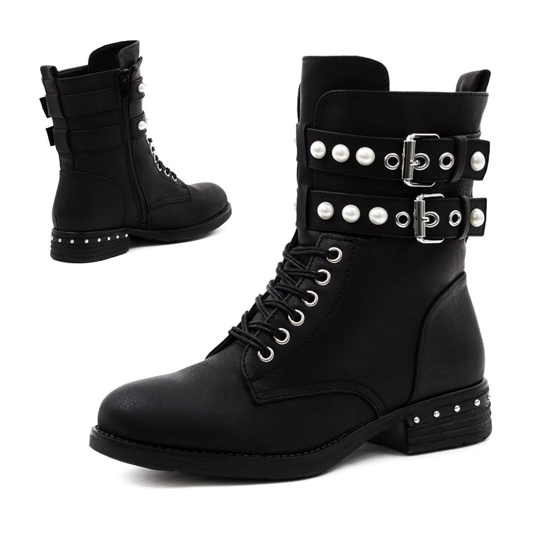 damen nieten stiefel biker boots stiefeletten in. Black Bedroom Furniture Sets. Home Design Ideas