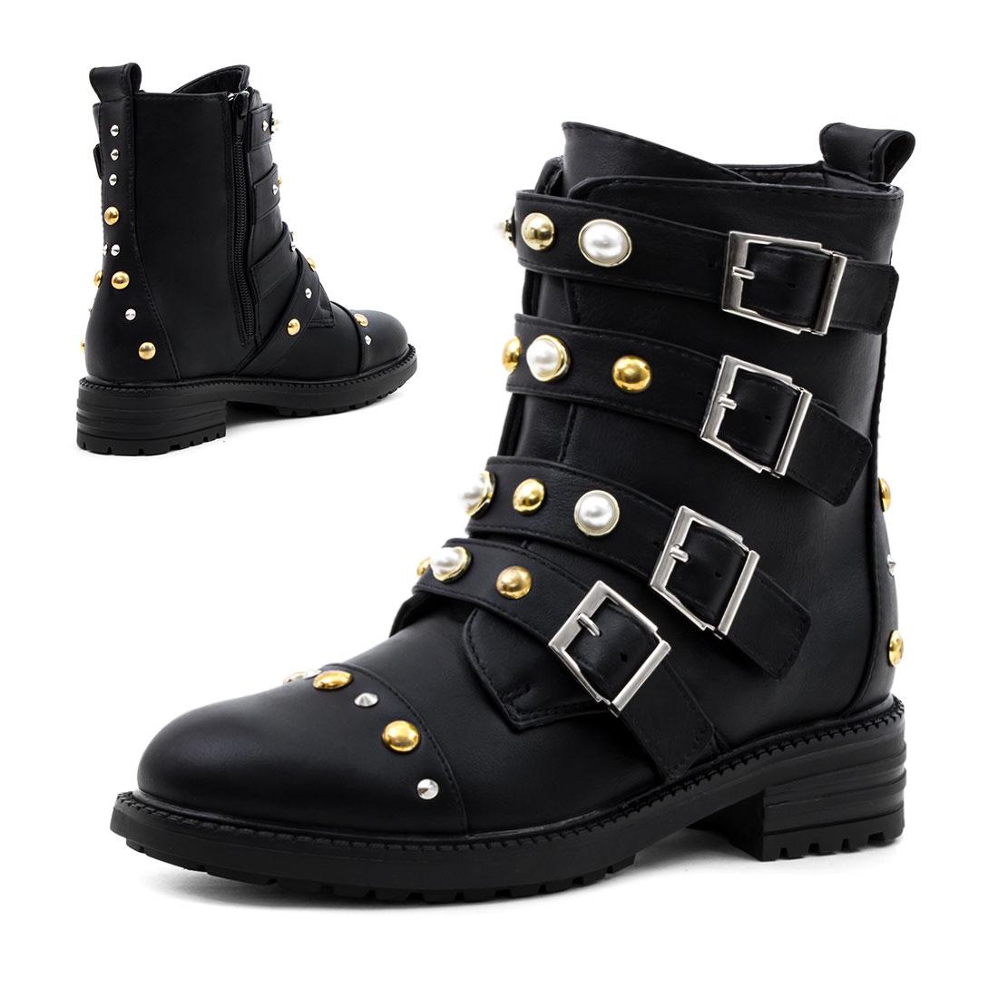 damen schn r stiefel stiefeletten biker boots mit nieten. Black Bedroom Furniture Sets. Home Design Ideas