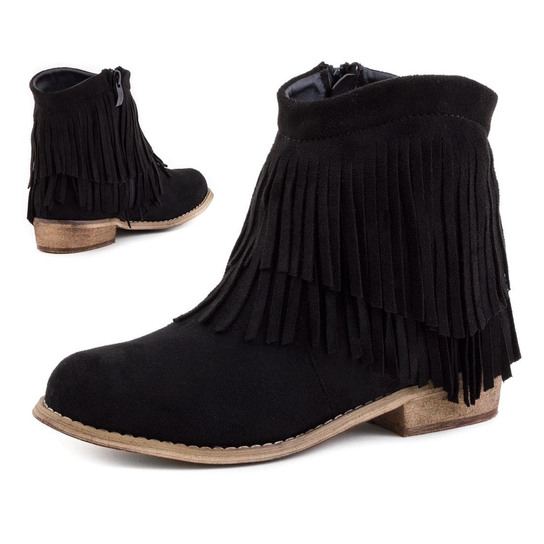 neu damen western cowboy stiefeletten fransen boots schuhe. Black Bedroom Furniture Sets. Home Design Ideas
