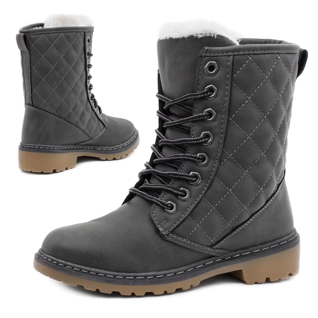 neu damen winter stiefel schn r stiefeletten boots in lederoptik schuhe ebay. Black Bedroom Furniture Sets. Home Design Ideas