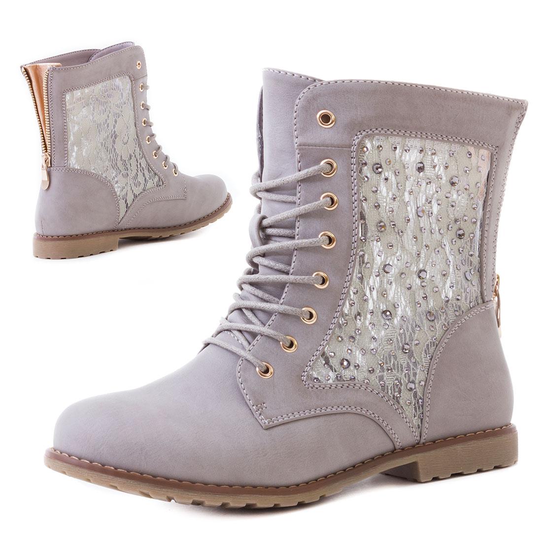 Damen-Worker-Boots-Stiefeletten-Schuhe-mit-Strass-Groesse-36-37-38-39-40-41-42-43